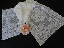 "VINTAGE  FRENCH ALENCON LACE RUNNER/DRESSER SCARF.. IVORY...15"" X 44"""