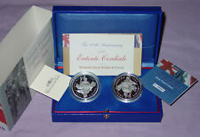 2004 ROYAL MINT SILVER PROOF ENTENTE CORDIALE TWO COIN SET - SCARCE
