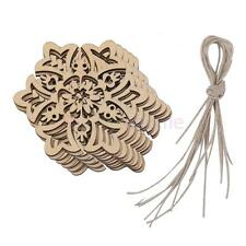 LOT OF 10 UNFINISHED WOOD CRAFT CUT OUTS SNOWFLAKE CHRISTMAS DECO ART TAGS