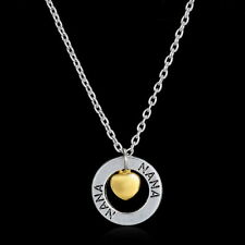 NANA  Silver NECKLACE  Gold Heart Charm Mothers Day GRANDMA GRANDMOTHER