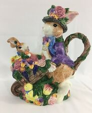 Fitz and Floyd Easter Bunny Rabbit Wheel Barrow Teapot 40 oz. Handpainted