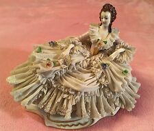ANTIQUE GERMANY ACKERMANN & FRITZE PORCELAIN DRESDEN LACE RECLINING LADY STATUE