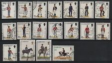 GB Guernsey 1974 Military uniforms fine used set 18 stamps