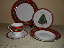 20pc JCPenny HOME Red Fine China Set Plate Bowl Cups CHRISTMAS Tree Garland