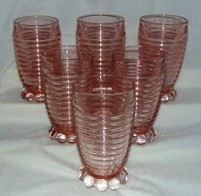 "4 Anchor Hocking MANHATTAN PINK* 5 1/4"" - 10 oz FOOTED TUMBLERS *HARD TO FIND*"