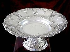 Vintage SILVERPLATE PEDESTAL FRUIT BOWL CENTERPIECE Floral & Grape MADE IN SPAIN