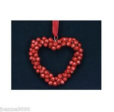 GISELA GRAHAM RED JINGLE BELL LOVE HEART CHRISTMAS TREE DECORATION ORNAMENT