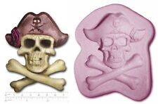 PIRATE SKULL & BONE Jolly Roger Large Sugarcraft Sculpey Silicone Rubber Mould