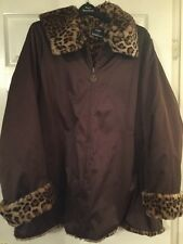 Dennis Basso Washable Satin Reversible Printed Faux Fur Coat Brown Plus Size 1X