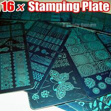 NEW 16pcs XL FULL Nail Stamping Plate Stamp Disc Print Transfer Template Stencil