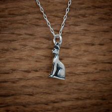 925 Sterling Silver 3D Bastet Egyptian Cat Goddess Pendant FREE Cable Chain