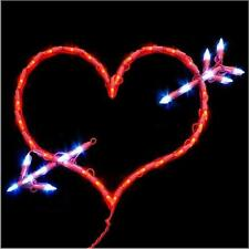 "LED Lighted Heart With Arrow Valentines Day Decoration Indoor/Outdoor 18""W"