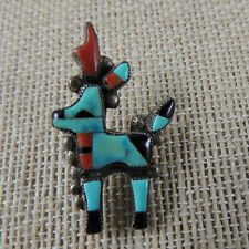 "Zuni Bowman Paywa Pronghorn Antelope Tie Pin Coral Turquoise ""Book Piece"" 1950s"