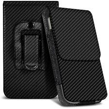 Veritcal fibre de carbone ceinture pochette holster cas pour Prestigio MultiPhone 5044 DUO