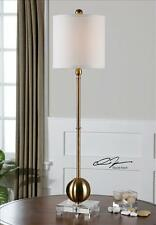 """35"""" BRASS PLATED METAL TABLE LAMP CRYSTAL BASE WHITE SHADE READING LIGHT"""