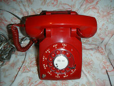Vintage RARE 1971 Western Electric 510 RED Rotary Dial Desk Phone