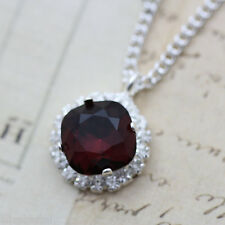 Burgundy Necklace Silver 16 18 Made With Swarovski Crystal Pendant Gift Mom