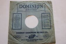 VINTAGE  78RPM RECORD SLEEVE 1930's  DOMINION RECORDS LONDON