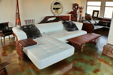 "138"" Oversize sofa sectional unique Italian white leather steel frame palm wood"