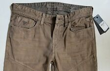 Guess Men Jeans 34 W x 33 Slim Tapered Brown Slim Low Rise Brand New with Tags