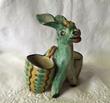 "Vintage Numbered Italian Rustic Pottery 6"" Donkey With Baskets Planter ~ Nice!"