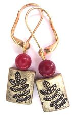 Ox Brass Leaf Red Jade Drop Dangle Gold Interchangeable Leverbacks Earrings USA