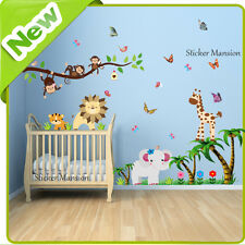 Animal Wall Stickers Monkey Jungle Zoo Tree Nursery Baby Kids Bedroom Decals Art