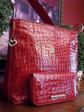 NEW BRIGHTON *CHER* RED CROC EMBOSSED PATENT LEATHER SHOULDERBAG & WALLET