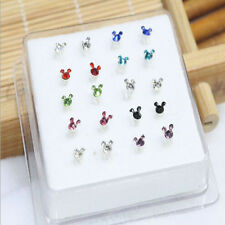 Solid Silver 20X Mixed Crystal Mickey Mouse Straight Bar Rod Nose Stud Wholesale
