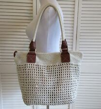 THE SAK Cambria Large Round Hand Crochet Natural & Bronze Hippie Hobo Boho Tote