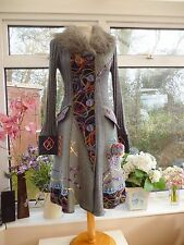 STELLA FUR PATCHWORK EMBROIDERED QUIRKY KNITTED CARDIGAN COAT STEAMPUNK HIPPY 8