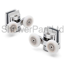2 x twin top en alliage de zinc porte de douche galets / coureurs 25mm roue dia L067 8mm