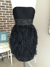 SUE WONG NOCTURNE BLACK SATIN BEADED COCKTAIL DRESS W OSTRICH FEATHERS SZ 2