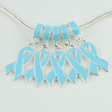 Silver and Blue Ovarian AWARENESS RIBBON Cancer EUROPEAN Dangle Bead CHARM USA