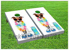 VINYL WRAPS Cornhole Boards DECALS Dog on Vacation BagToss Game Stickers 560