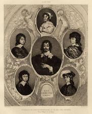 Portrait famille Constantin Huygen Antoine Van Dyck Eau forte 19e siècle