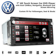 "7"" HD TouchScreen Car Bluetooth SatNav DVD USB SD Aux Stereo For VW Golf Mk4"