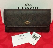 New Coach Signature PVC  Trifold Wallet Brown /Black  ( No checkbook holder)