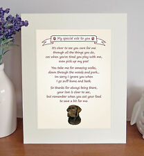 """Labrador (Chocolate) 10""""x8"""" Free Standing 'Thank You' Poem Fun Gift FROM THE DOG"""