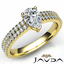 U Shape Prong Set Pear Diamond Anniversary Ring GIA G VS2 18k Yellow Gold 1.23Ct