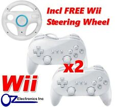 2x New Classic Pro GamePad Controller for Nintendo Wii U FREE Steering Wheel NEW