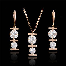 18k Gold Plated White Rhinestone Necklace/Earrings Jewelry Set 47cm