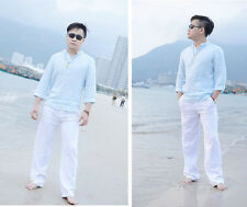 Men's Casual Linen Trousers Loose Big Yards Elastic Waist Beach Pants Clothes