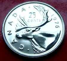 SHARP!  1976  PROOF ISSUE CANADA 25 cents  Beautiful CARIBOU DETAILS