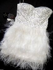 NWT Bebe white silver sequin strapless isis feather bustier top dress S  small 4