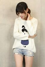 Brand New Japanese Style Soft Warm Cartoon Polka Dot Doll Sweater Blouse Top XS