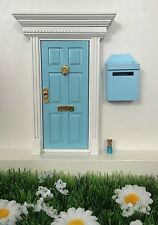 Blue Wooden Fairy Door with Fairy Mail Post Box, Magic Key and Fairy Dust