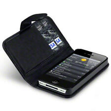 Black Pu Leather Wallet Case Cover for Apple iPhone 4S With Credit Card Slots