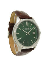 Caravelle New York 43B133 Men's Round Kelly Green Analog Brown Leather Watch