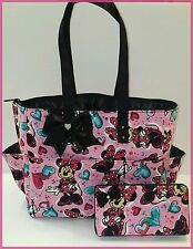 Minnie Mouse diaper bag. Black glitter bow. tote. Matching wipe case. Girls